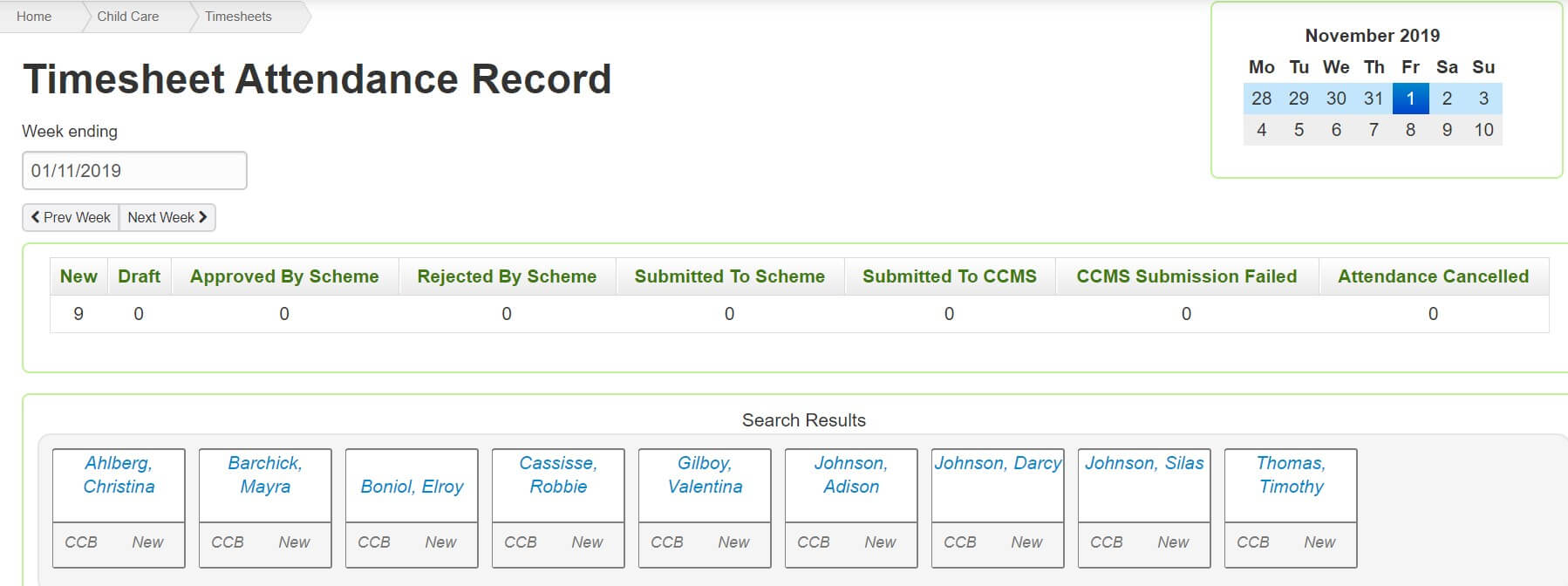 Harmony Web for Educators Timesheet Attendance Record
